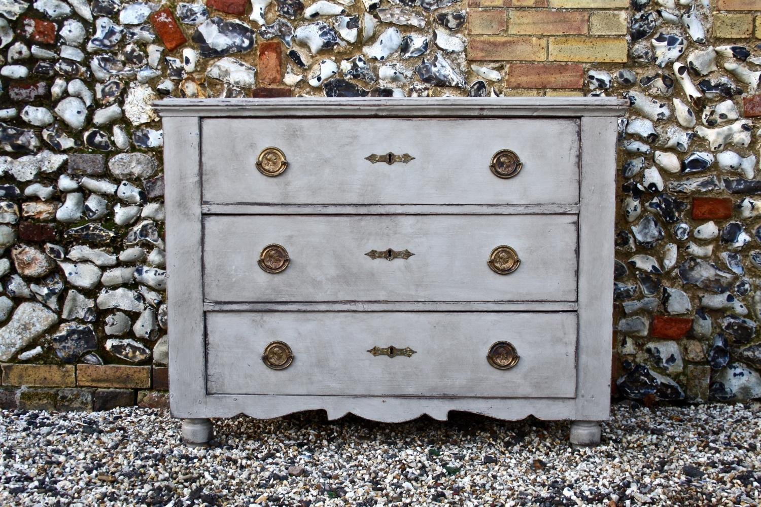 Painted chest of three drawers