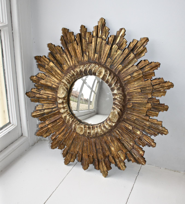 French wooden sunburst mirror