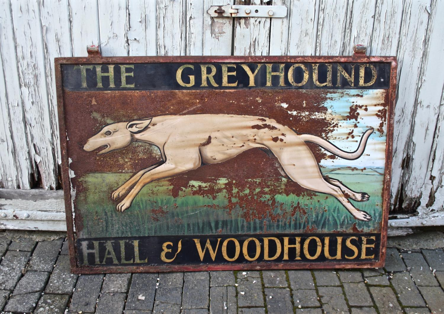 The Greyhound double sided pub sign