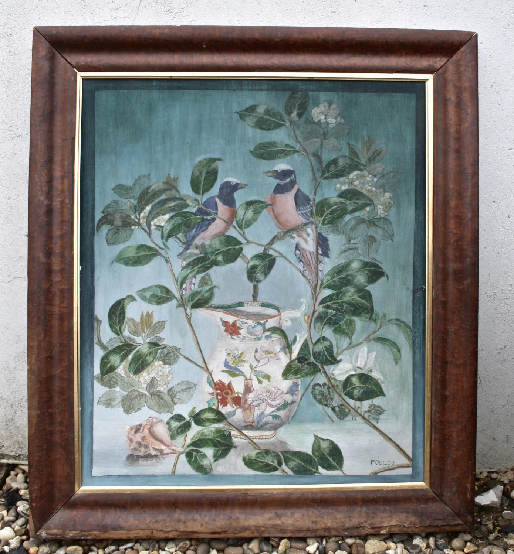 Framed painting of birds on board