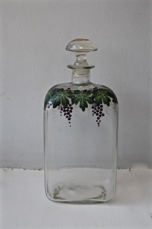 Handpainted glass bottle