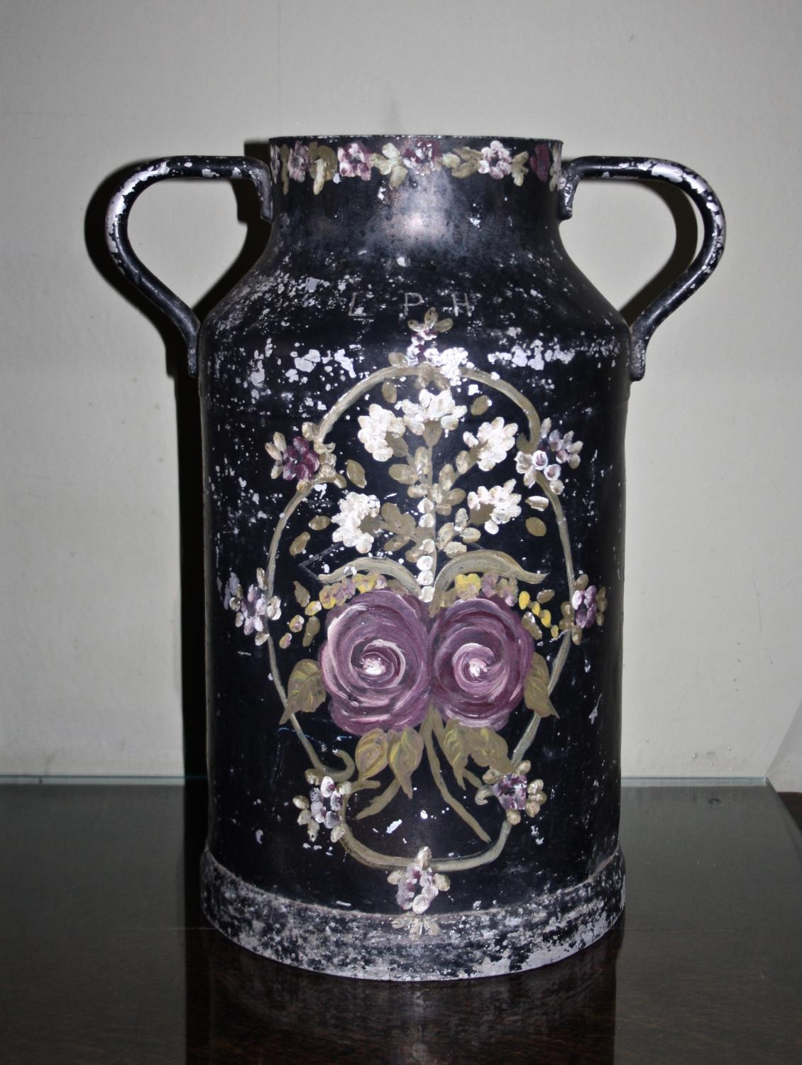 Vintage painted milk churn