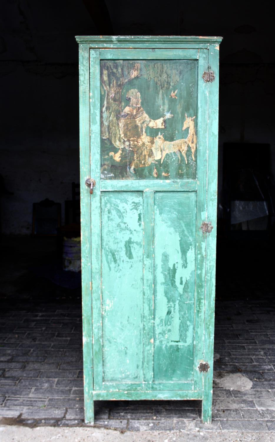 Early 20th century green painted cupboard