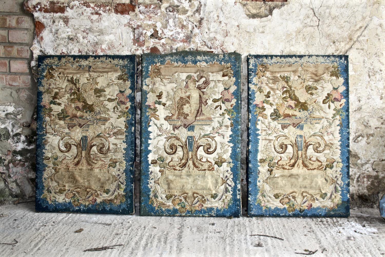 Three early silk on silk panels
