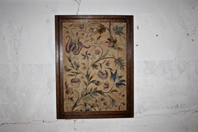 Crewelwork in oak frame