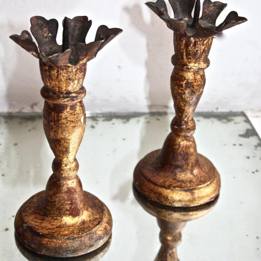 19th century giltwood candlesticks