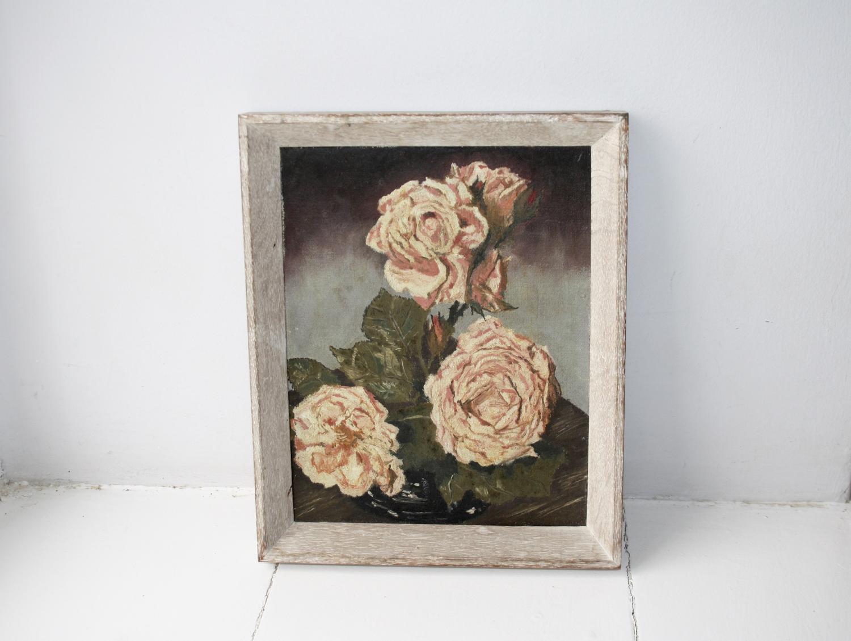 Framed rose painting