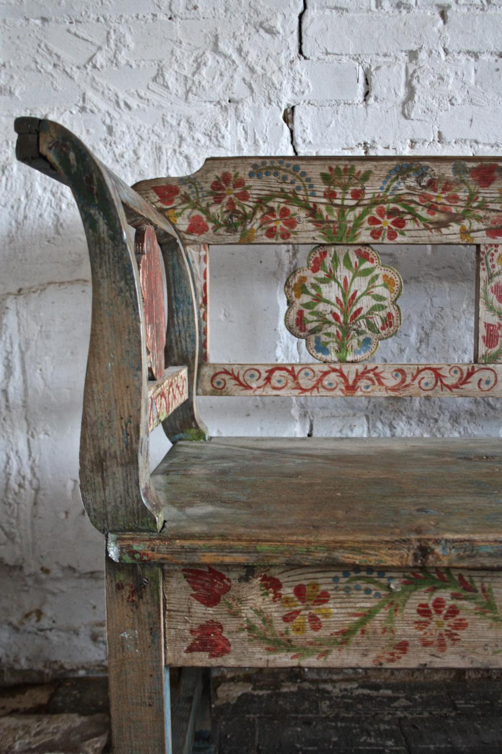 19th century painted floral bench