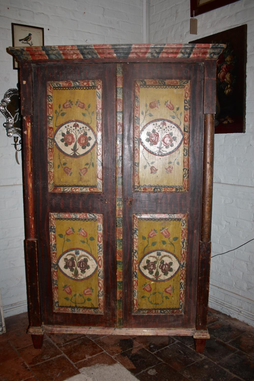 Large 19th century floral cupboard