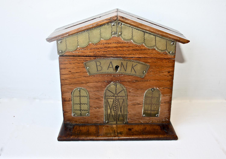 Late 19th century 'bank' oak money box