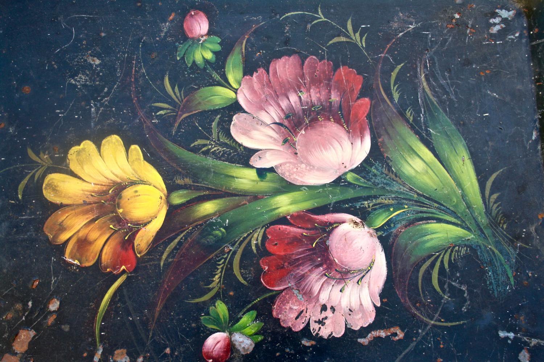 Black floral toleware tray
