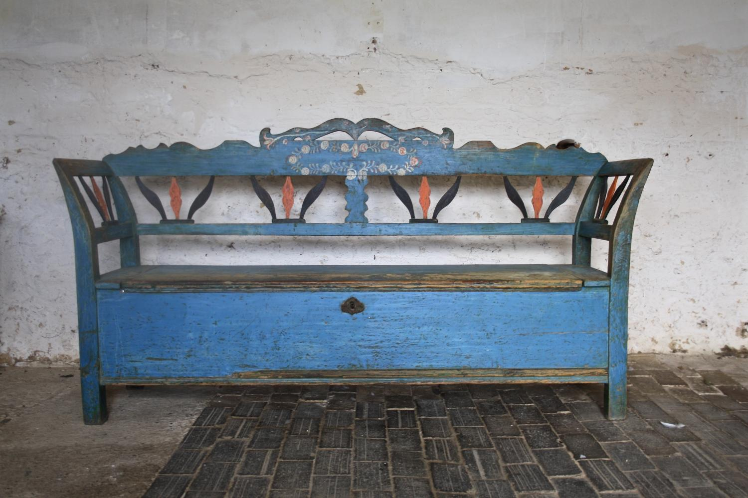 19th century painted pine marriage bench
