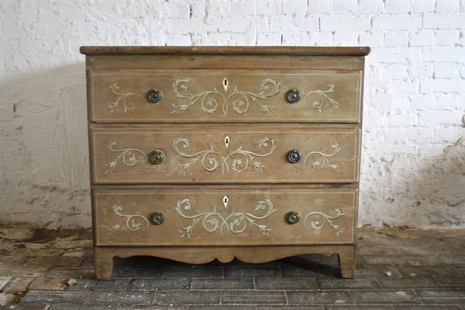 19th century painted chest of three drawers