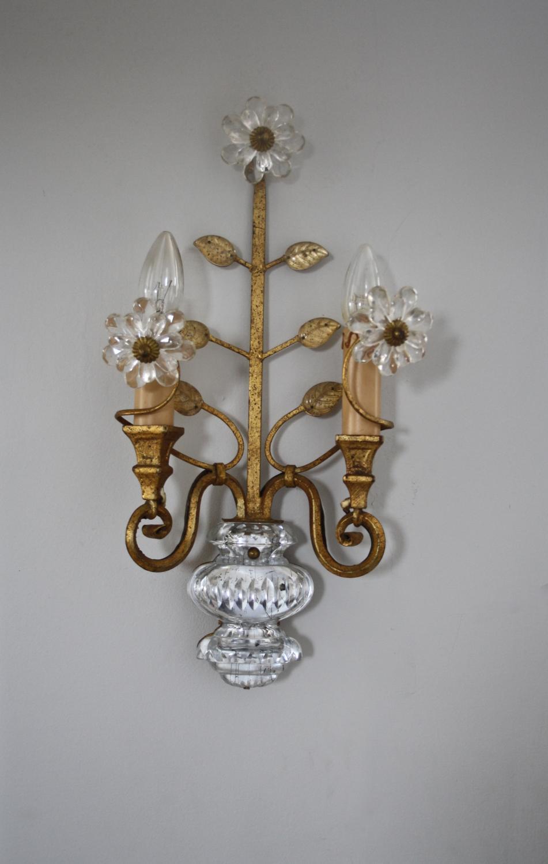 Italian mid century gilt and glass wall light
