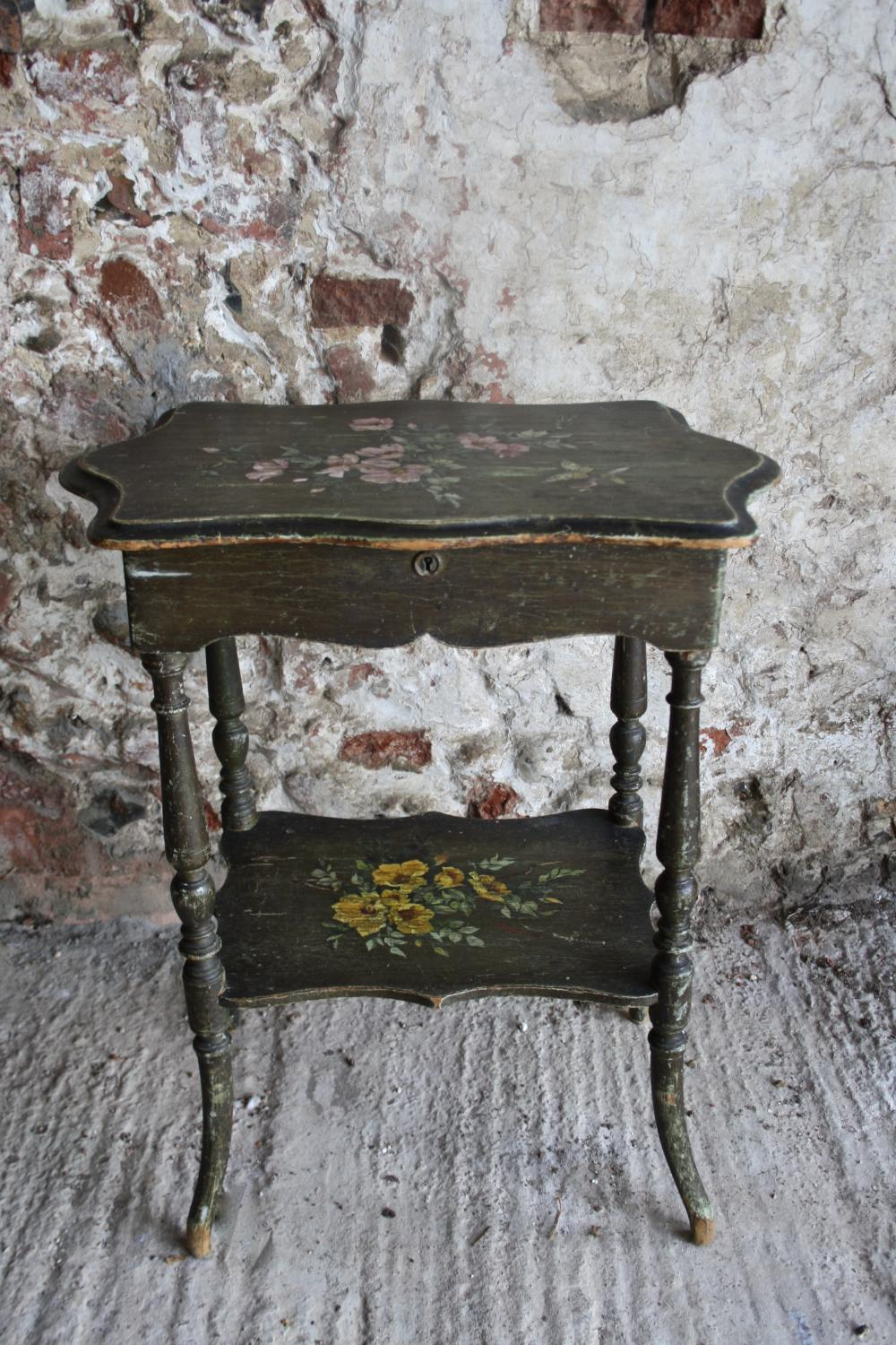 French floral sewing table