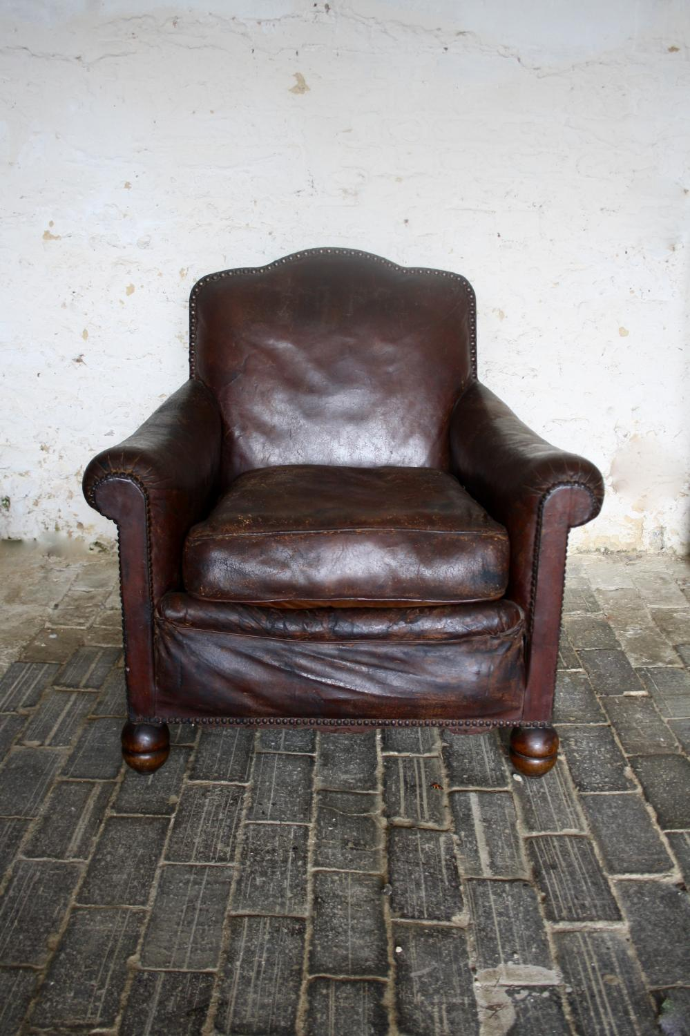 1930's French leather armchair