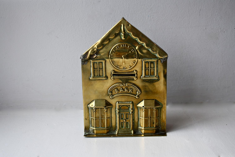 Brass 'bank' money box