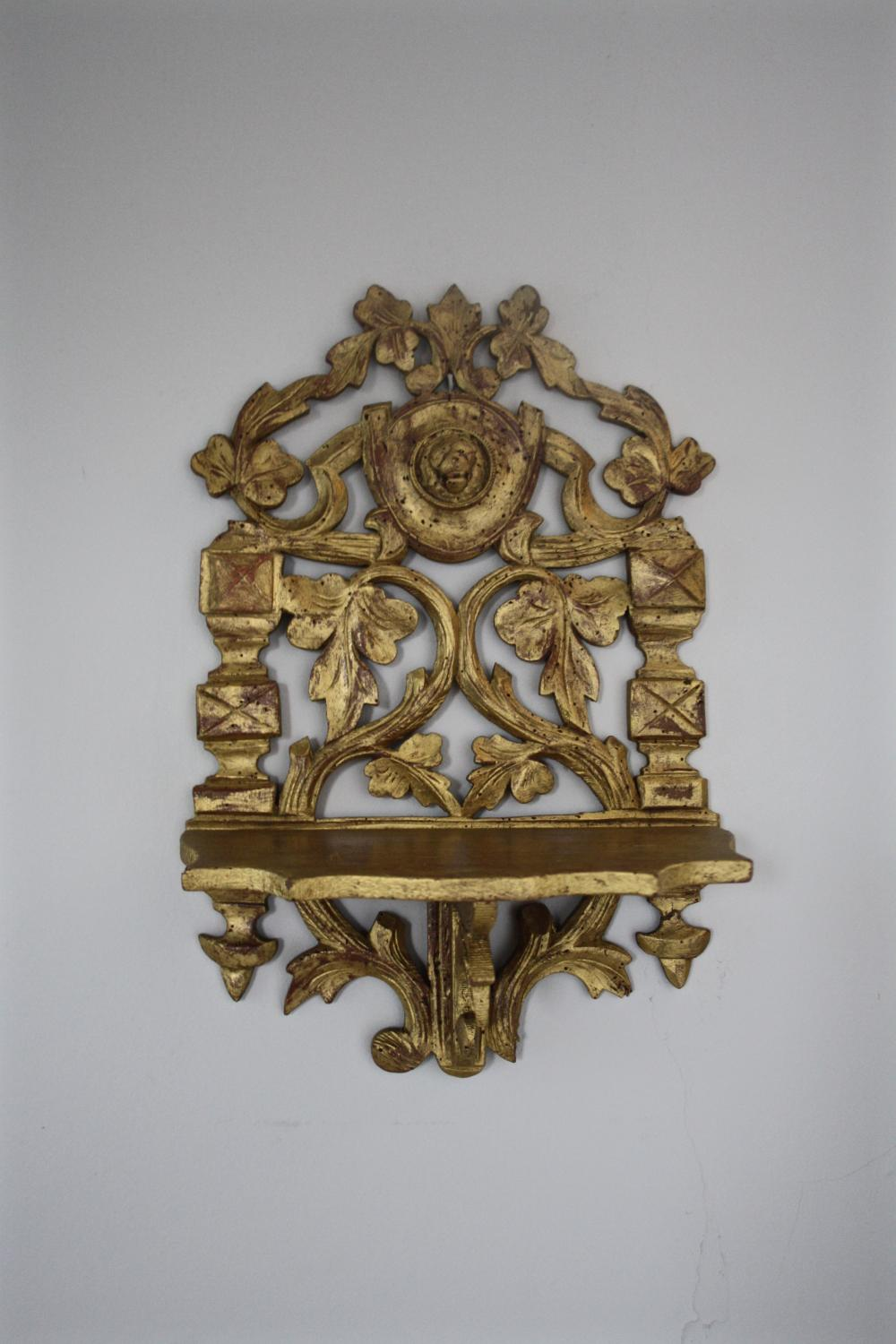 19th century giltwood folding shelf