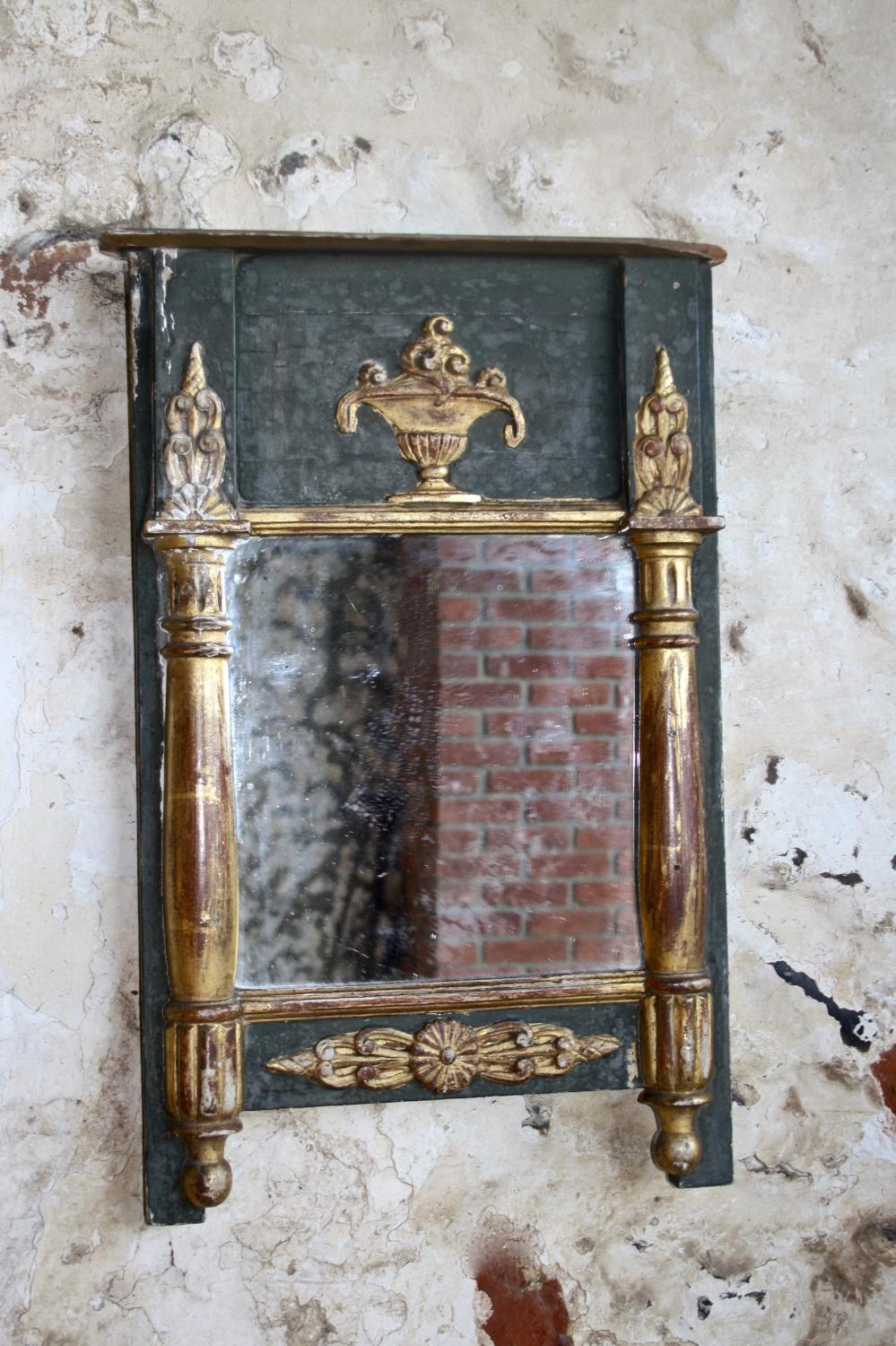19th century green/gilt French mirror