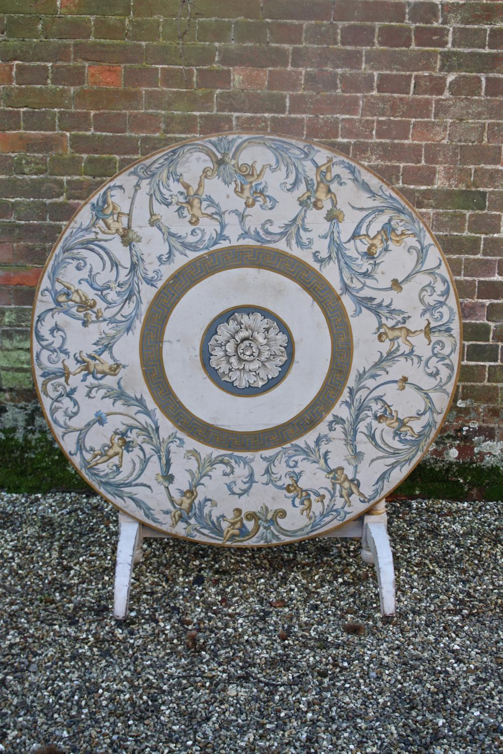 French wine table with painted top