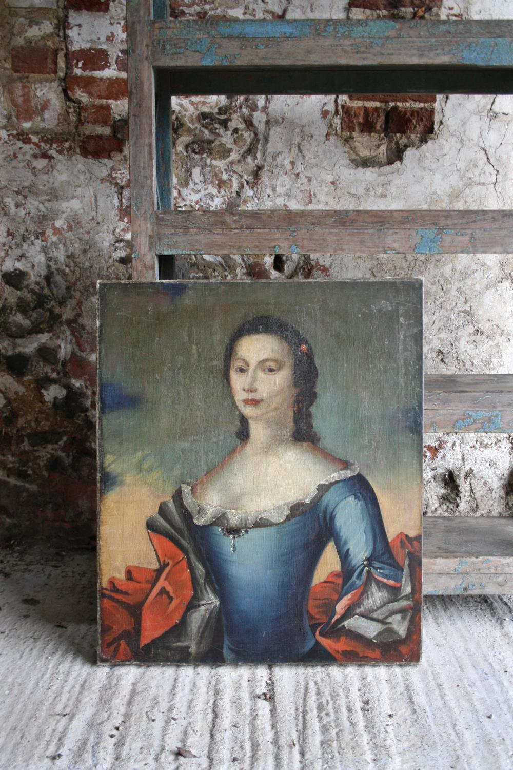 18th century oil painting of a lady