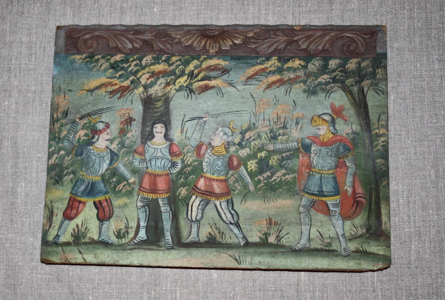 Italian painting onto carved wood