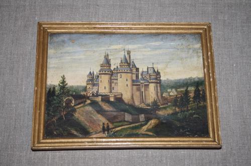 Framed oil of Château de Pierrefonds