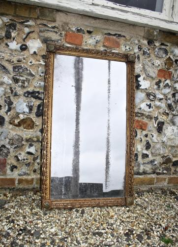 English gilt and painted C19th mirror