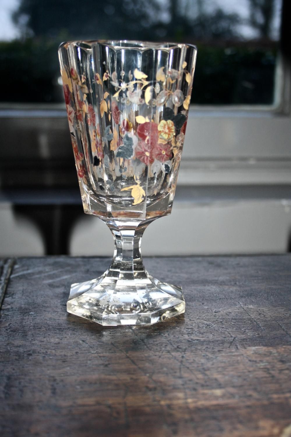 19th century floral glass/vase