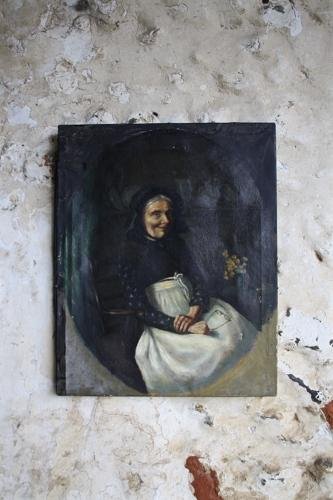Early C20th oil painting of lady