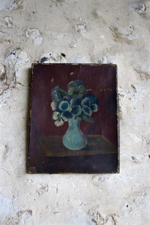 Oil of pansies in vase