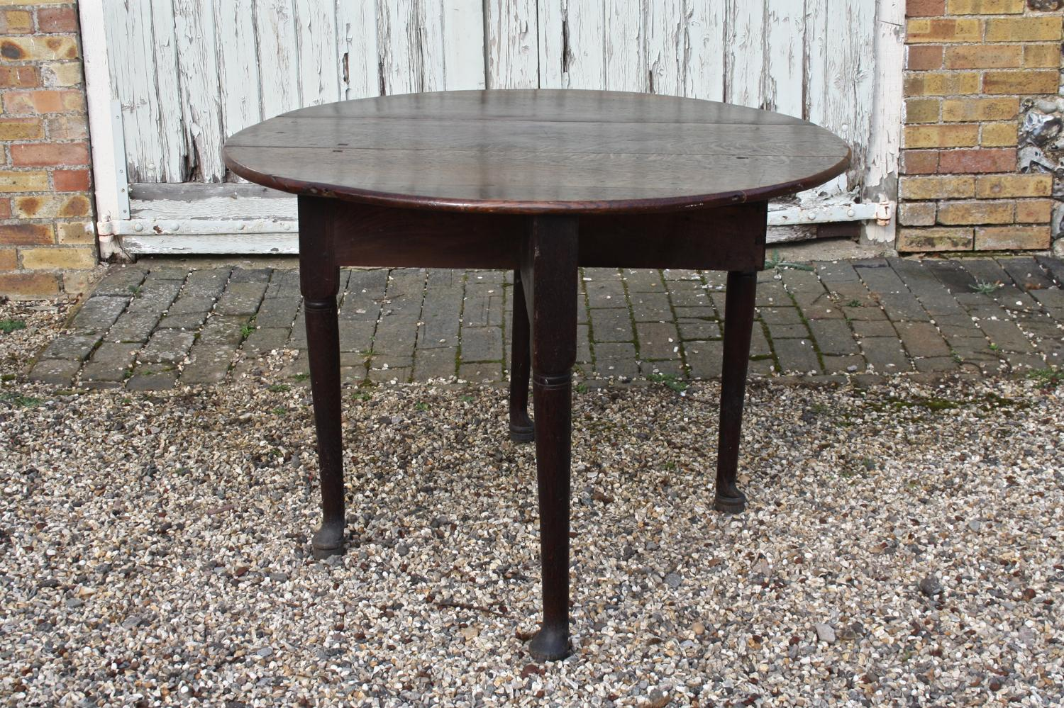 C19th oval oak gate leg drop leaf table