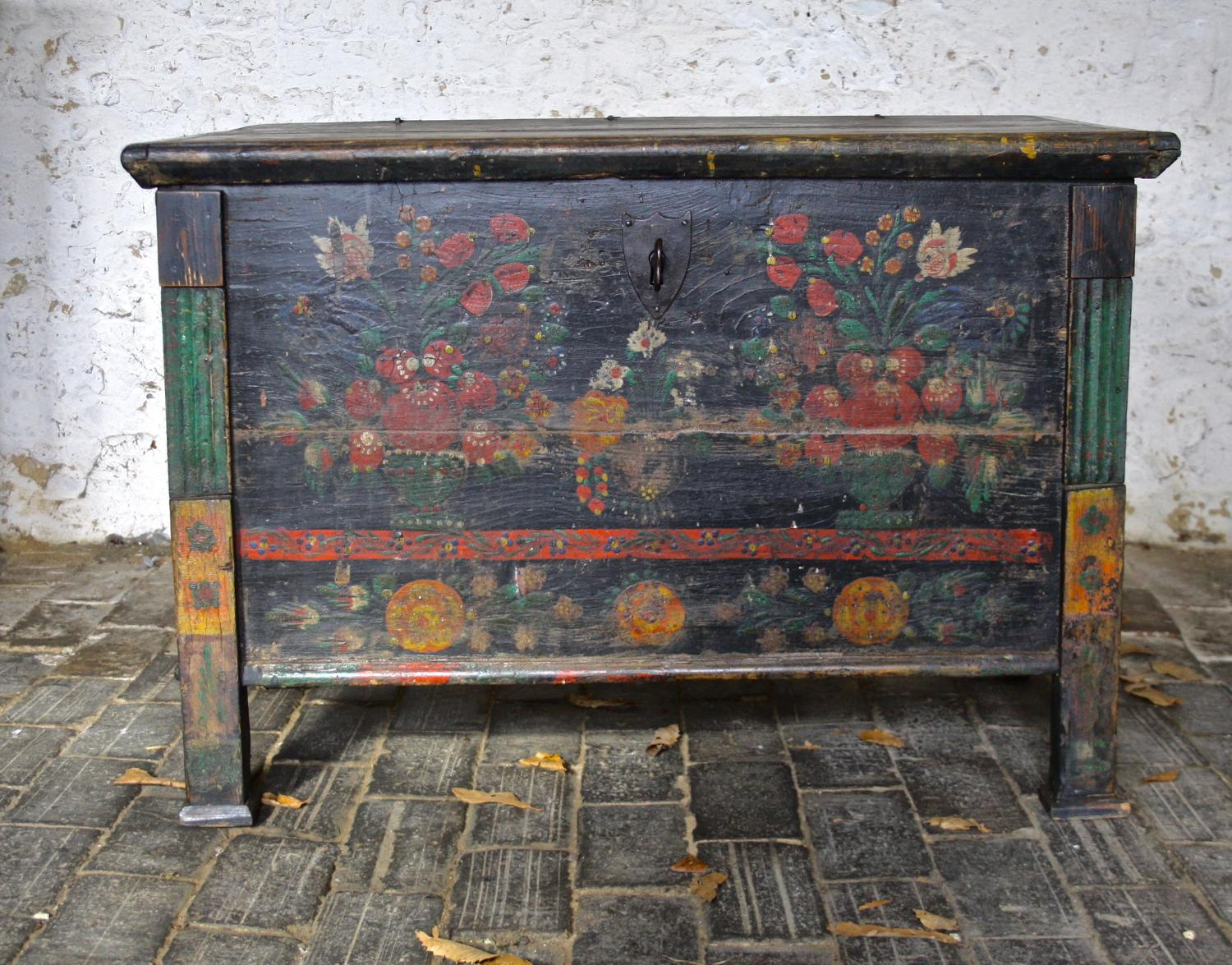 19th century floral marriage chest