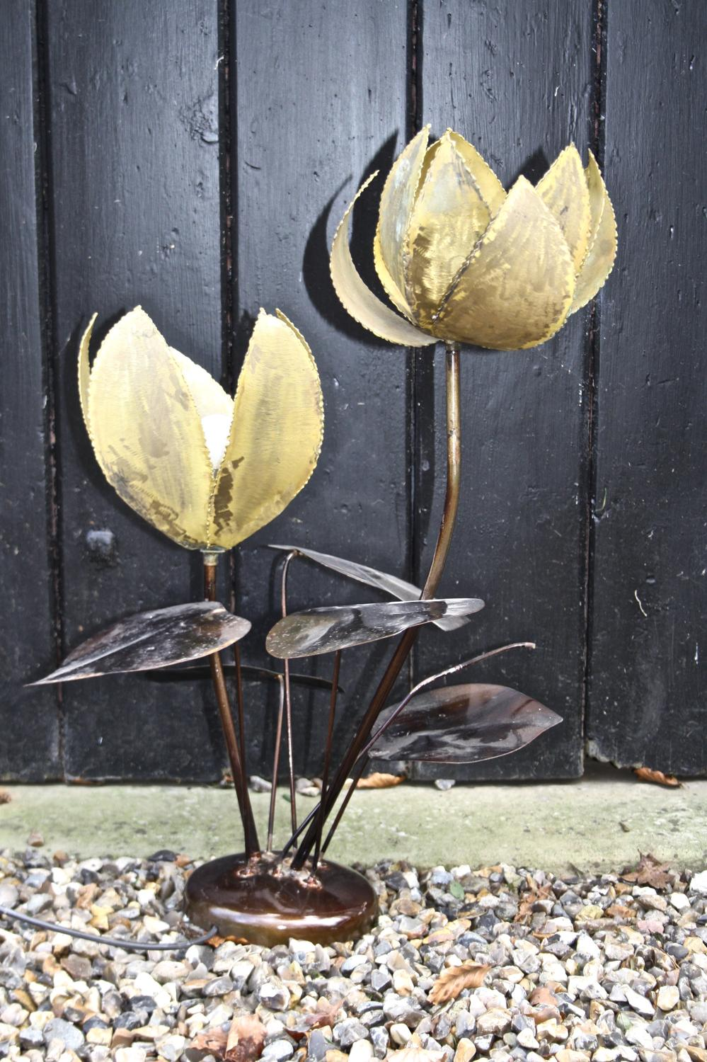 Mid century gilt flower lamp