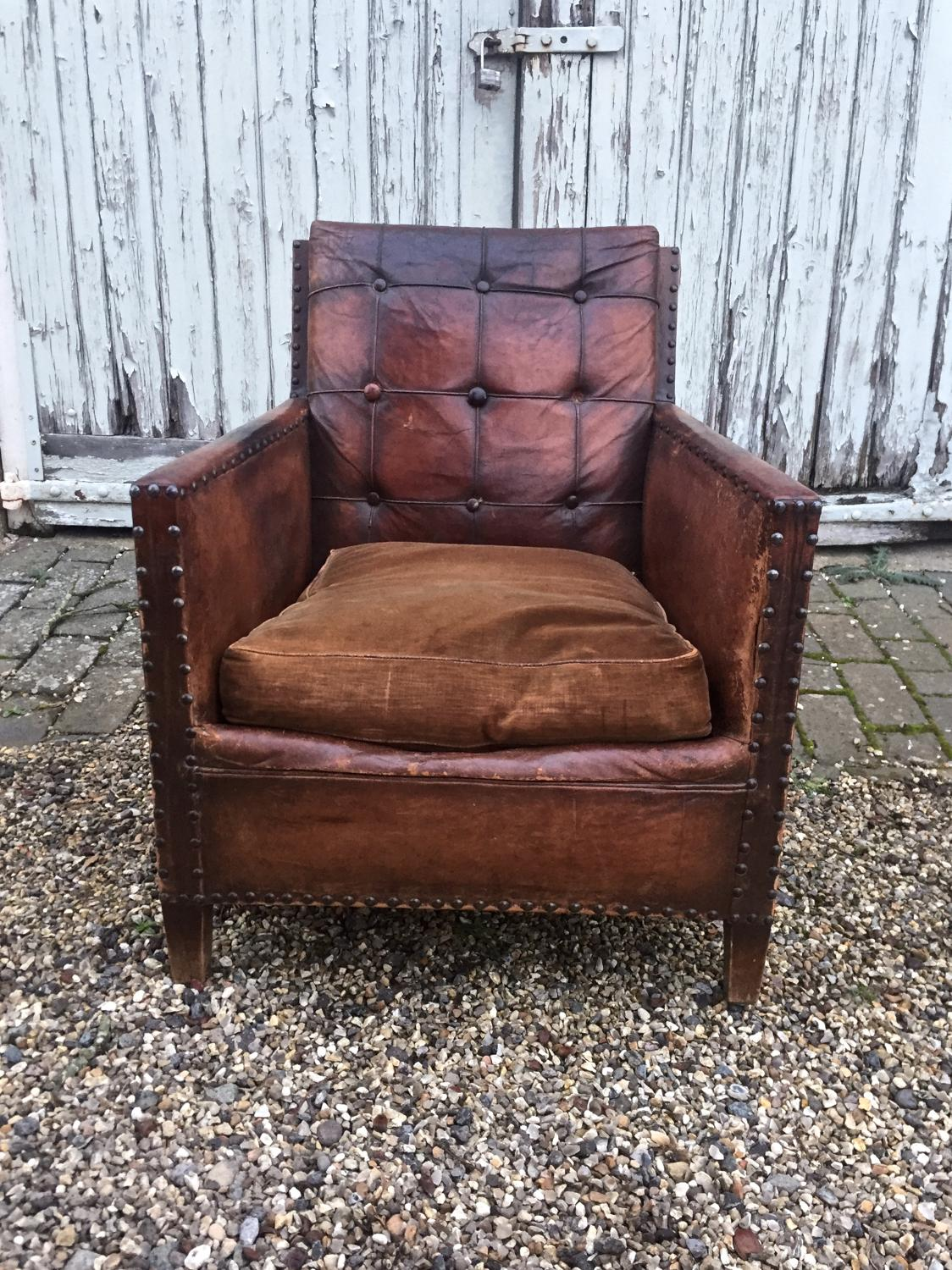 1940's leather button back chair