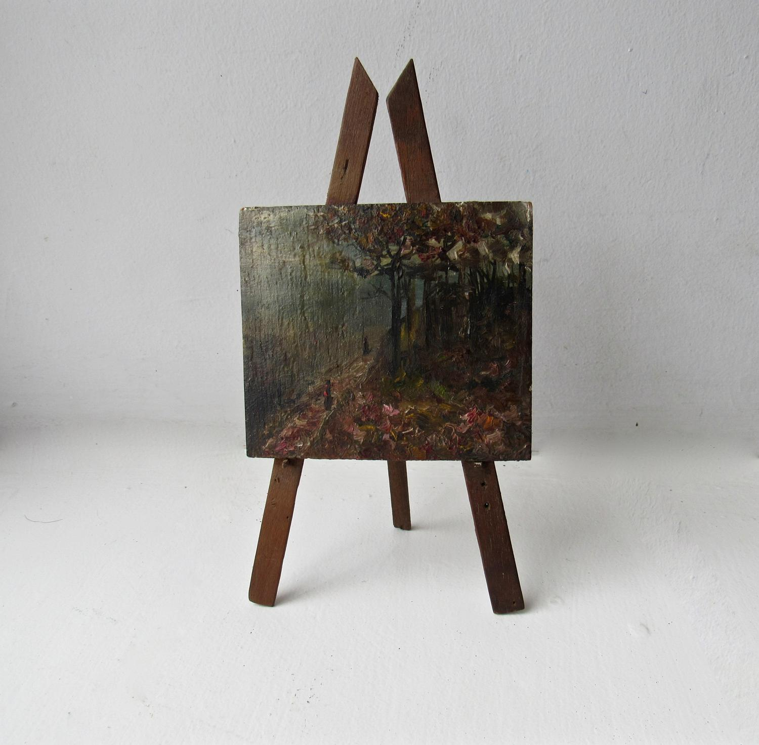 Miniature oil painting on easel