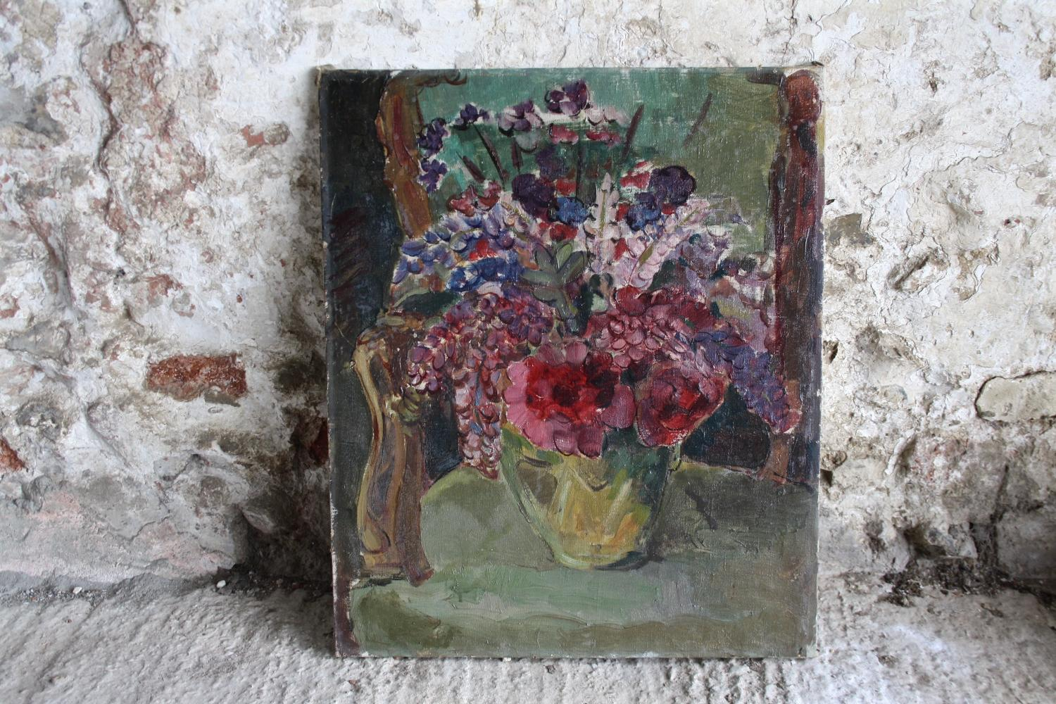 Large mid century floral oil
