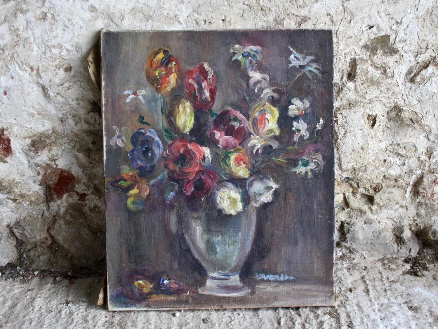 Floral oil painting of flowers