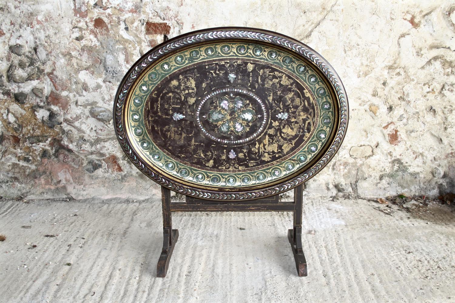 19th century tray top table