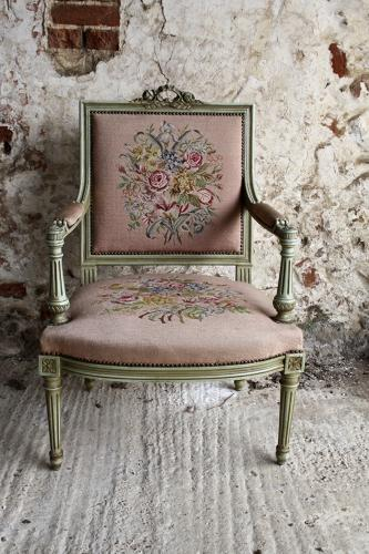 French needlepoint fauteuil