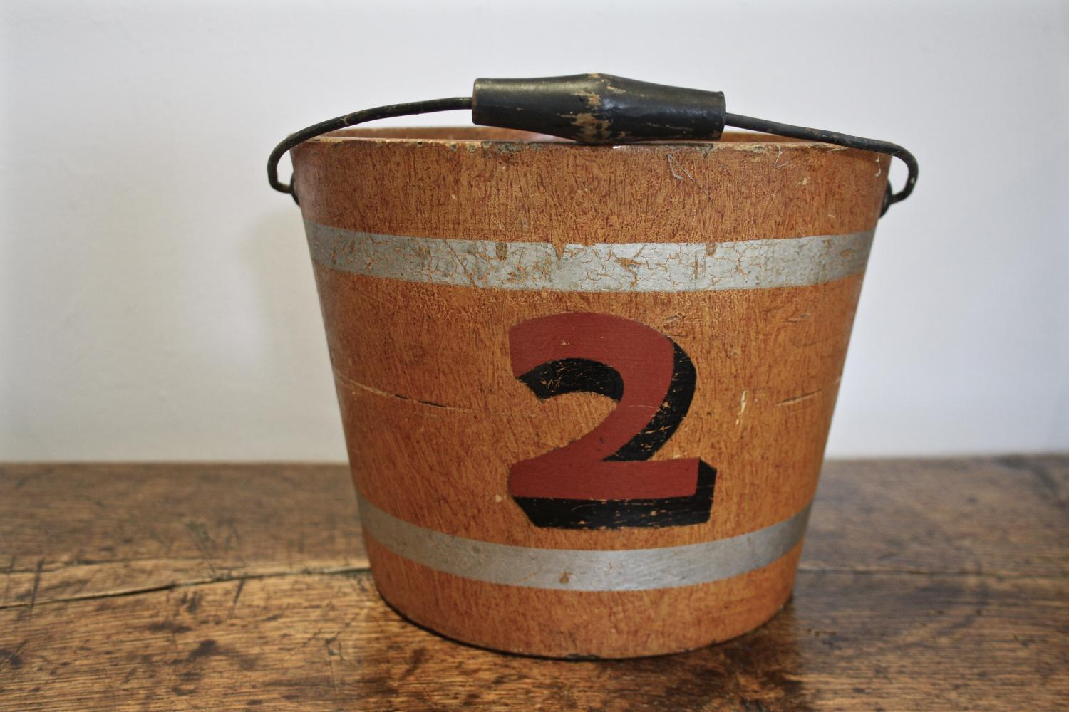 20th century wooden bucket with no. 2