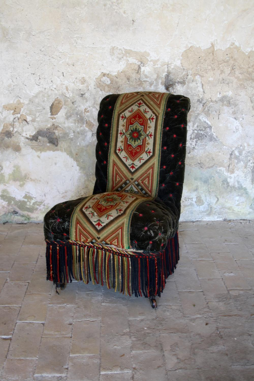19th century needlepoint and velvet slipper chair
