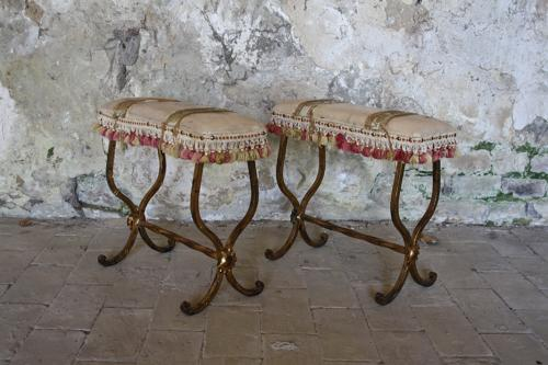 Pair of mid century French tasselled stools