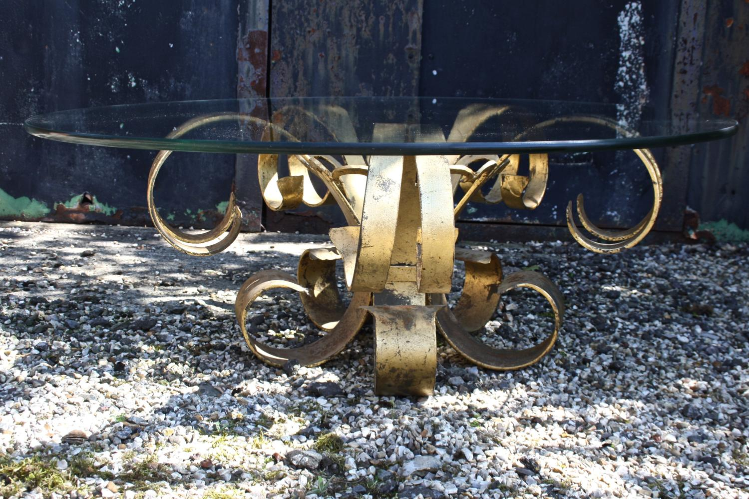 Large mid century glass & brass coffee table
