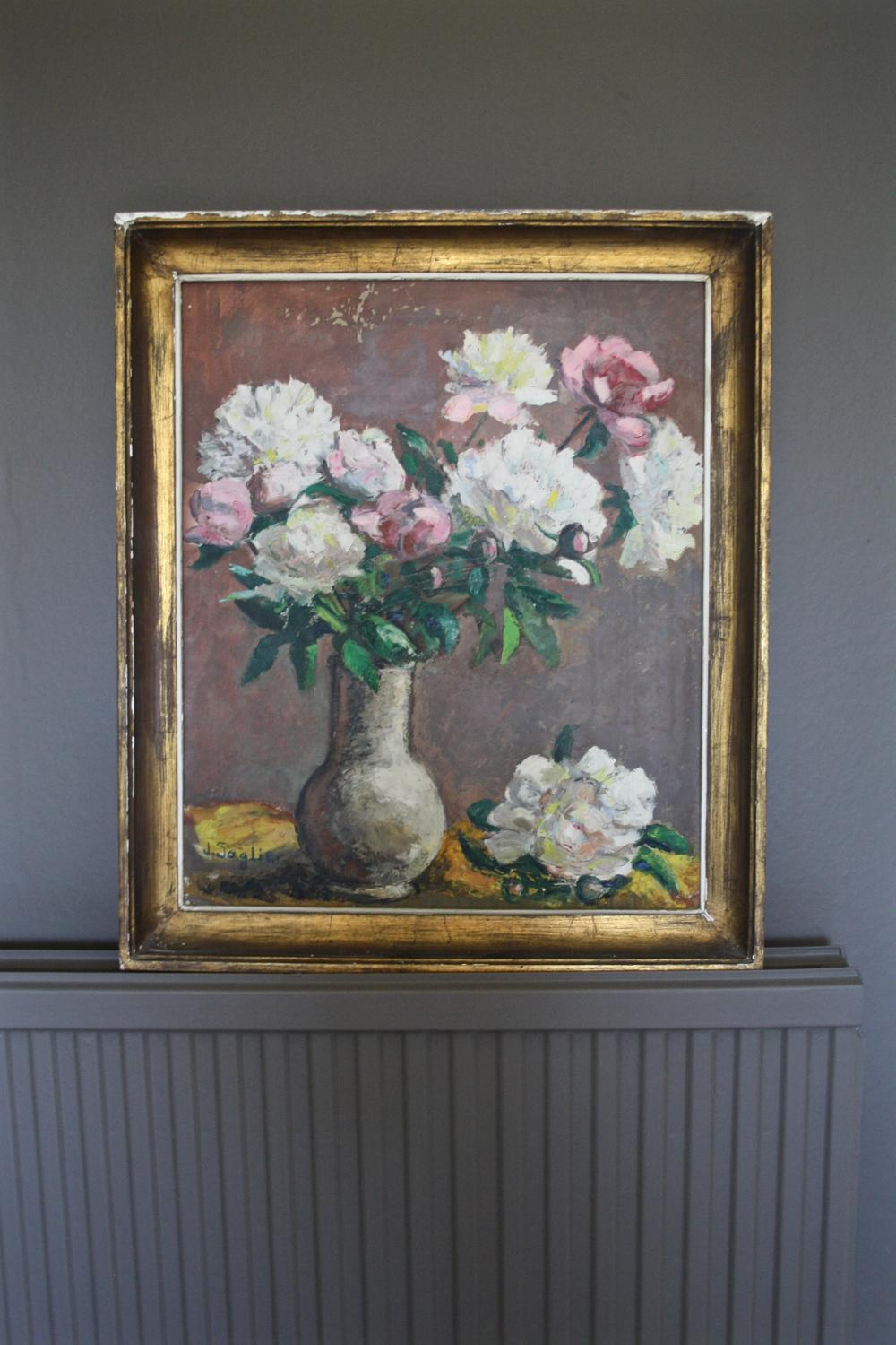 Painting of roses in frame