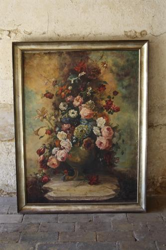Large painting of flowers in urn