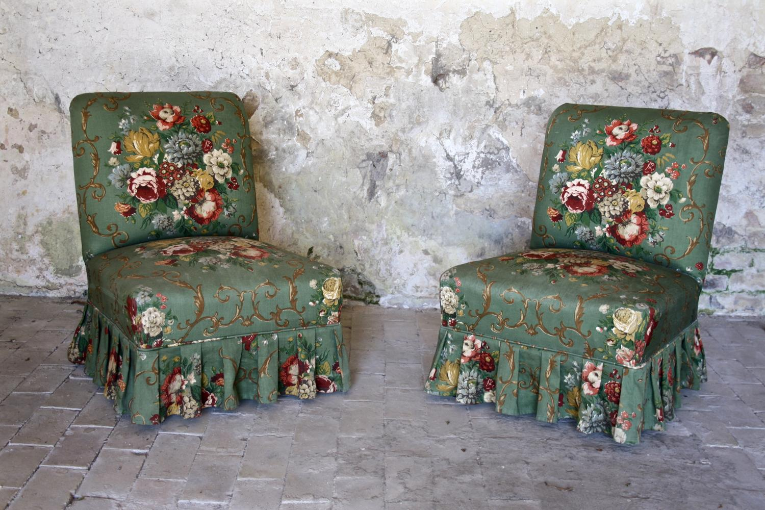 Pair of Edwardian floral chairs