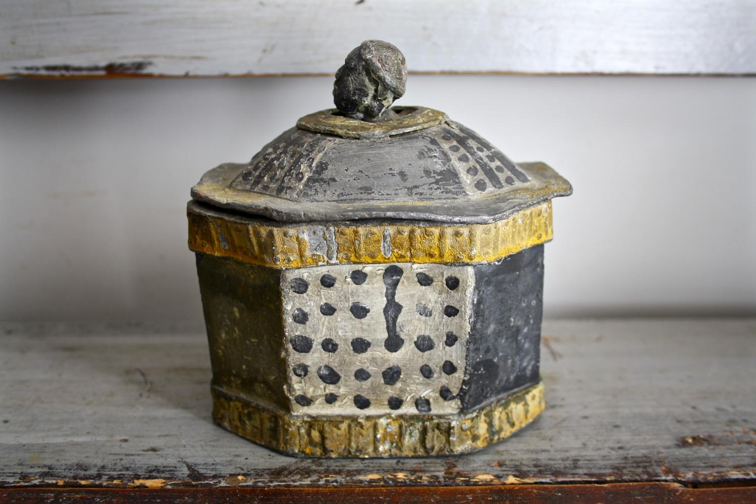 Painted 1840's lead tobacco jar