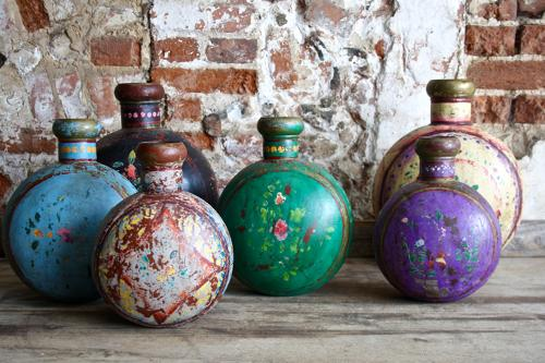 Indian tin gourds with floral painting