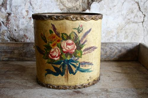 Floral wooden bin